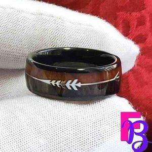 Size 11 Koa Wood Tungsten Ring
